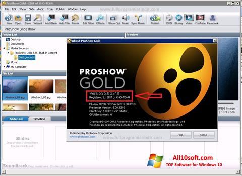 স্ক্রিনশট ProShow Gold Windows 10