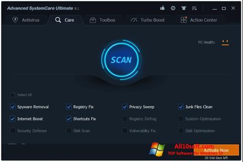 স্ক্রিনশট Advanced SystemCare Windows 10