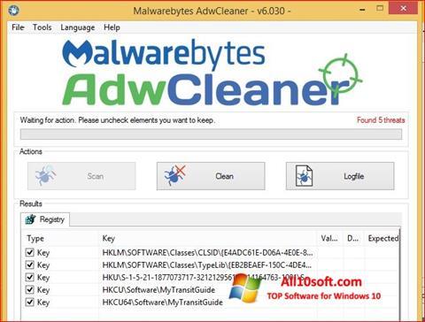 স্ক্রিনশট AdwCleaner Windows 10