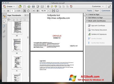 স্ক্রিনশট Adobe Acrobat Windows 10