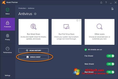 স্ক্রিনশট Avast Windows 10