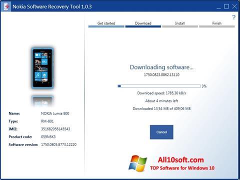 স্ক্রিনশট Nokia Software Recovery Tool Windows 10