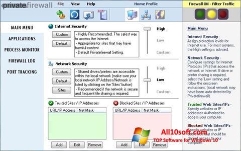 স্ক্রিনশট Privatefirewall Windows 10