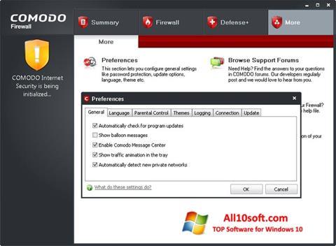 স্ক্রিনশট Comodo Firewall Windows 10
