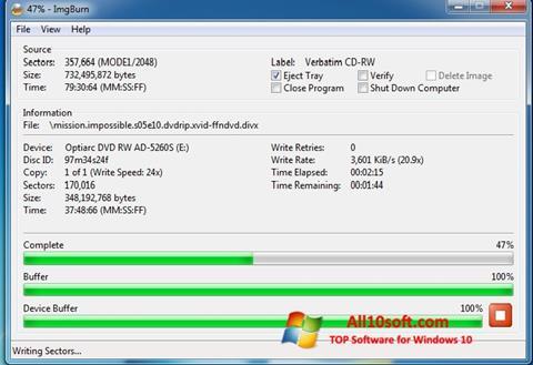 স্ক্রিনশট ImgBurn Windows 10