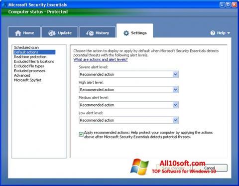 স্ক্রিনশট Microsoft Security Essentials Windows 10