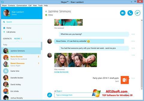 স্ক্রিনশট Skype Windows 10