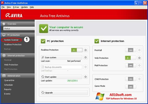 স্ক্রিনশট Avira Windows 10